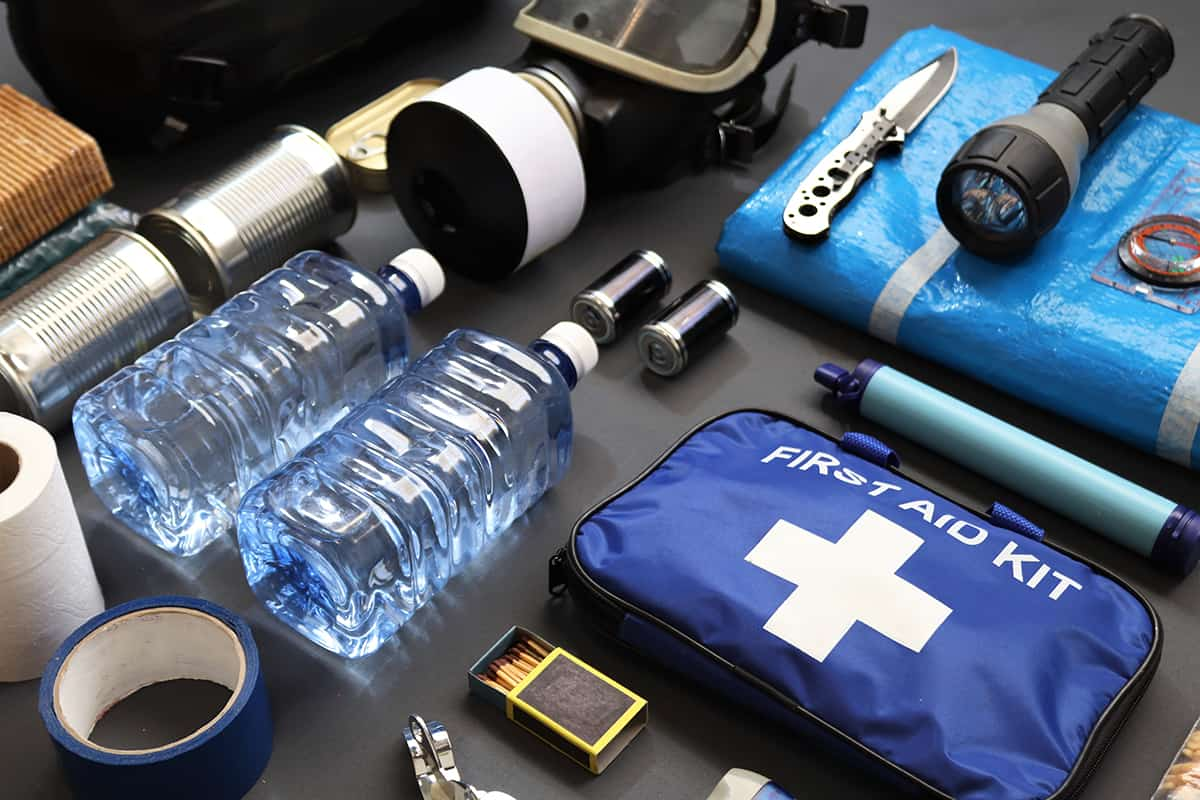 Emergency kit prepared for natural disasters, economic collapse, civil unrest or any doomsday scenario