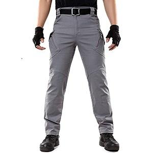 LABEYZON Men's Lightweight Rip-Stop Causal Cargo Pants (Grey)