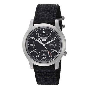 Seiko SNK809 5 Stainless Steel Watch with Black Canvas Strap