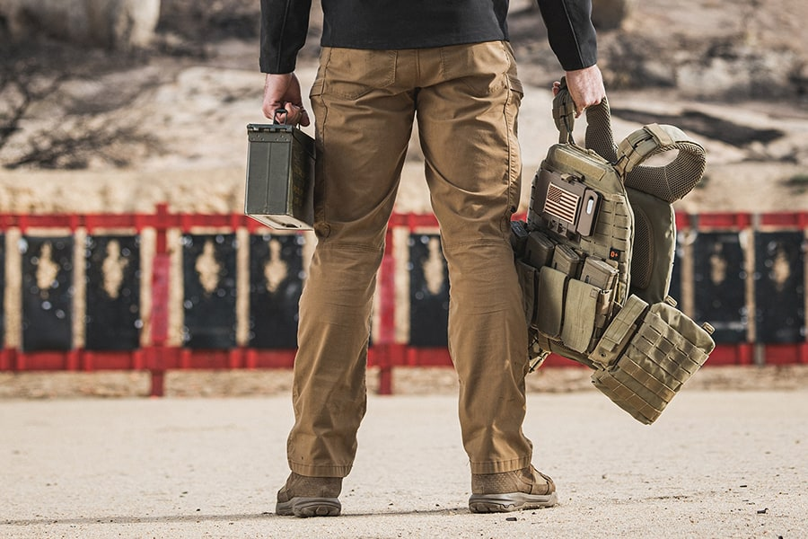Man wearing tactical cargo pants on the field
