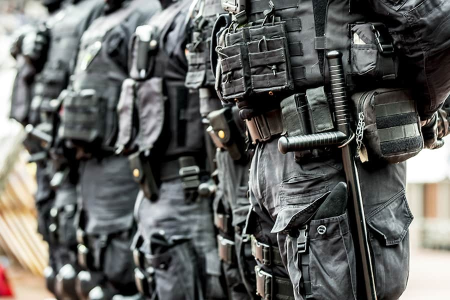 Anti-terrorist police standing wearing tactical vests